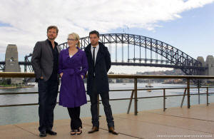 Colin Firth, Meryl Streep and Dominic Cooper in Sydney, 8 July 2008 (photo: Simply Streep.com)