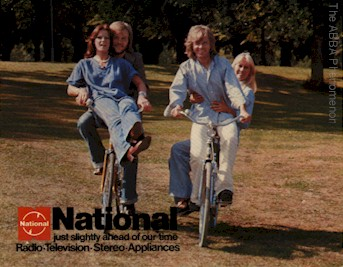 ABBA riding bicycles
